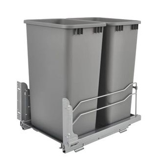 Rev-A-Shelf Metallic Silver Double Waste Container Pull-Out Organizer