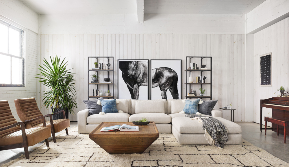 large sectional featuring an ottoman, which can be used as living room storage