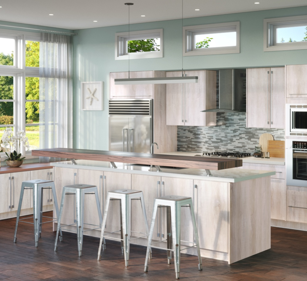 Kitchen with white installed cabinets