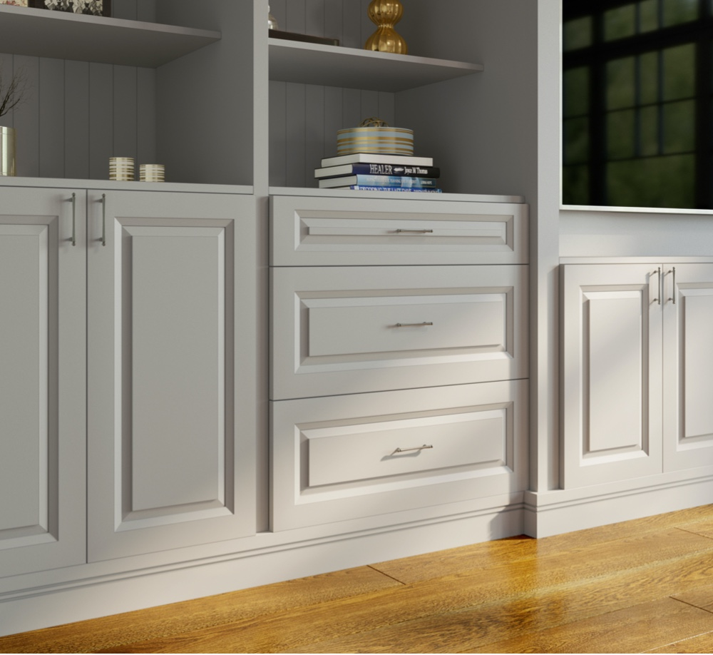 preassembled cabinets installed in a living room