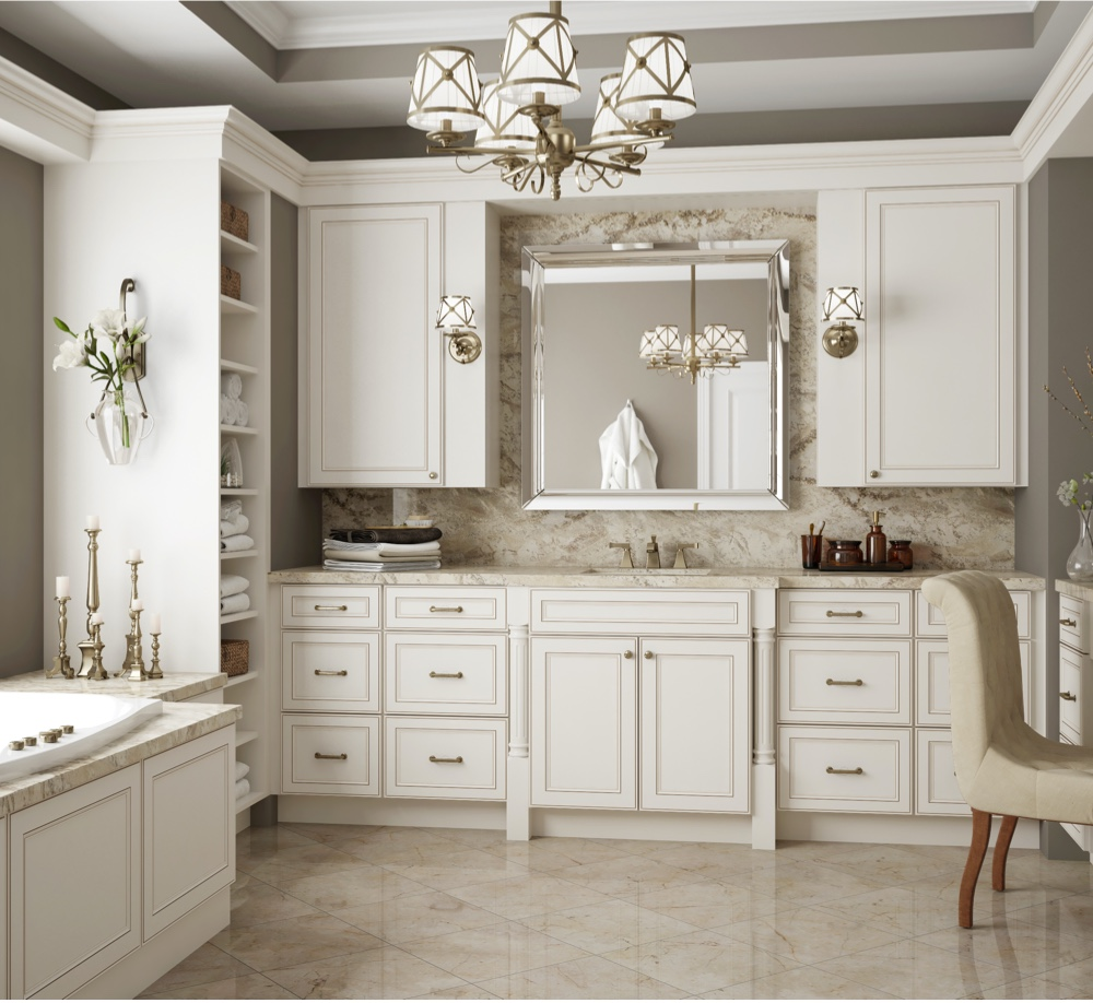 a kitchen displaying antique white cabinets