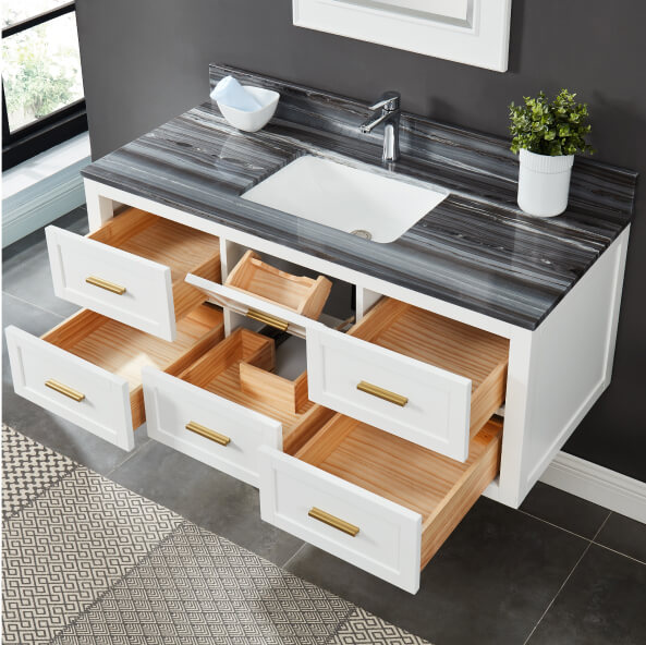 Open ready to assemble cabinets in a vanity