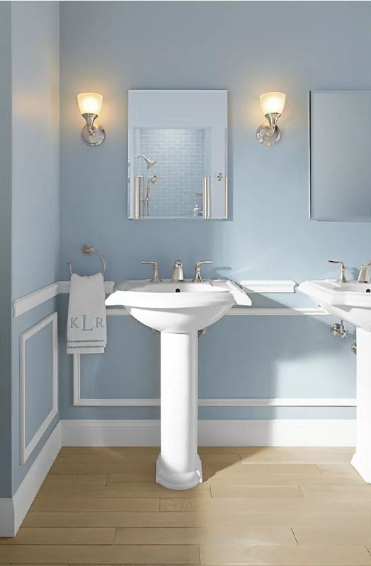 kohler medicine cabinet mounted on the wall in a bathroom