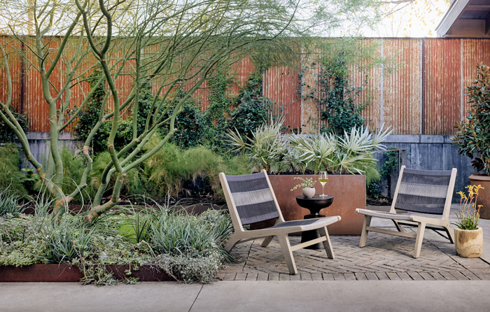 outdoor living space filled with plants