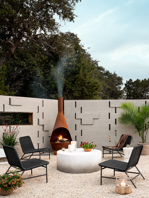 outdoor living space with ambient lighting