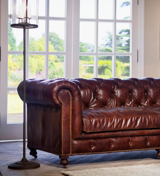 well-conditioned leather sofa