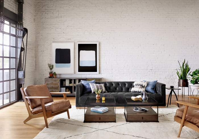 leather sectional in large room